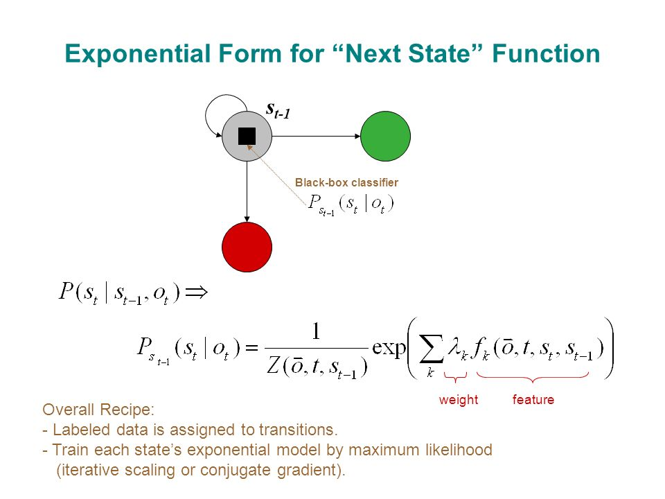 Exponential Form for Next State Function Overall Recipe: - Labeled data is assigned to transitions.