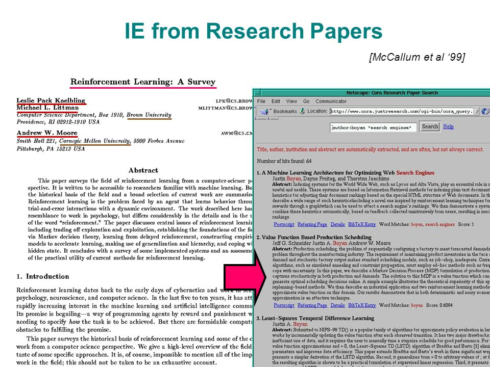 IE from Research Papers [McCallum et al '99]