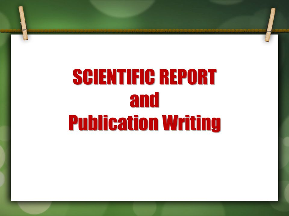 Scientific Report And Publication Writing. Format Of Sip A Good
