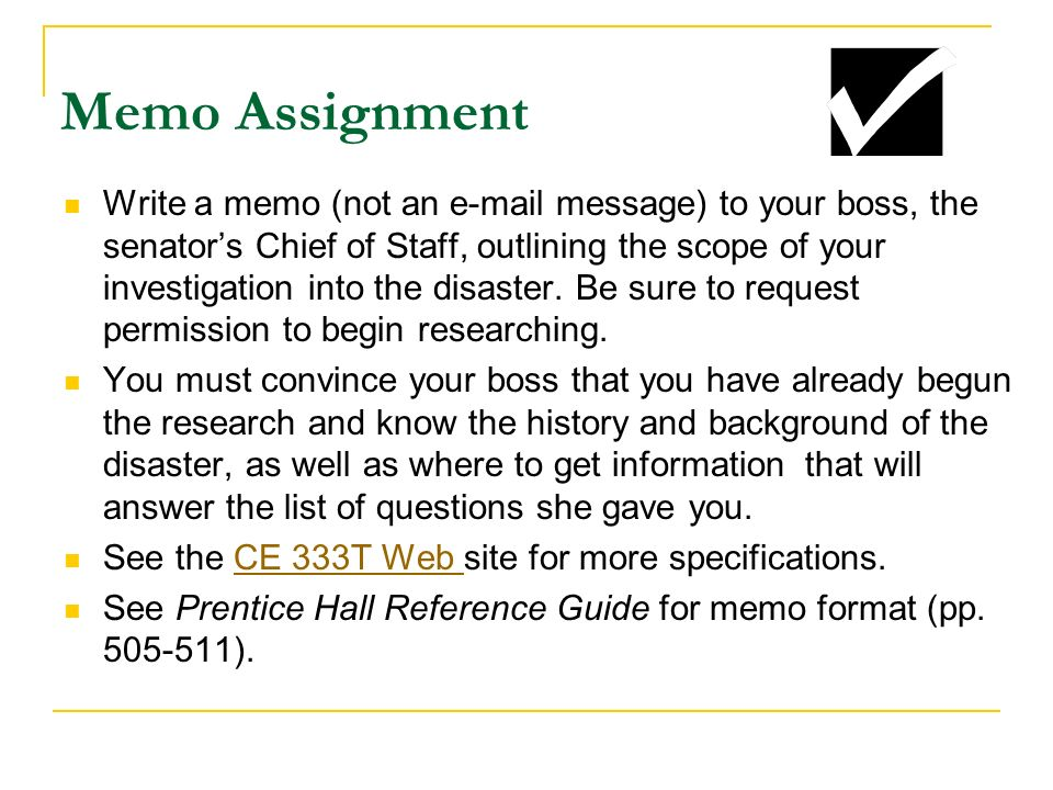 memo assignment 301 revised Policy memo assignment please read through these instructions in their entirety and feel free to be in touch with questions overview: you are a policy advisor to the president of your chosen conflict country.