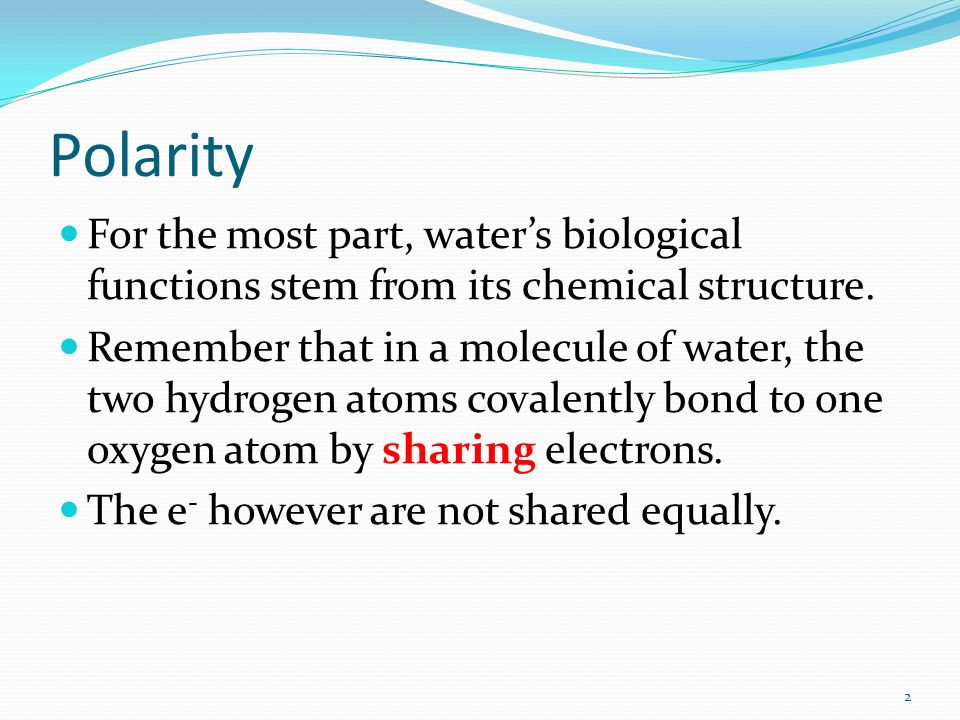 Polarity For the most part, water's biological functions stem from its chemical structure.