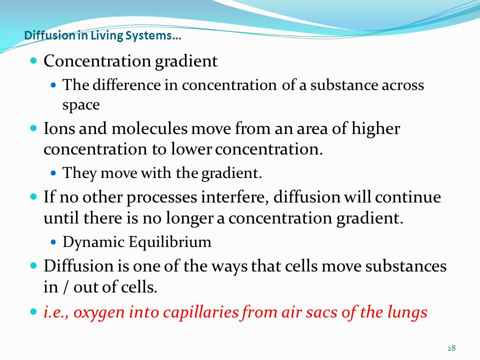 Diffusion in Living Systems… Concentration gradient The difference in concentration of a substance across space Ions and molecules move from an area of higher concentration to lower concentration.