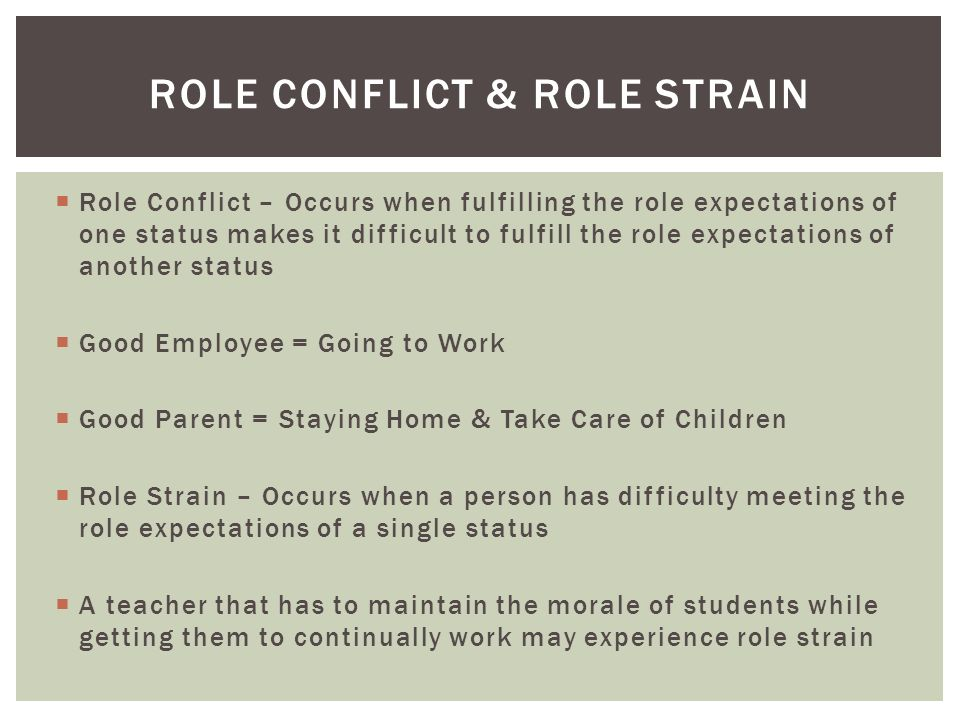  Role Conflict – Occurs when fulfilling the role expectations of one status makes it difficult to fulfill the role expectations of another status  Good Employee = Going to Work  Good Parent = Staying Home & Take Care of Children  Role Strain – Occurs when a person has difficulty meeting the role expectations of a single status  A teacher that has to maintain the morale of students while getting them to continually work may experience role strain ROLE CONFLICT & ROLE STRAIN