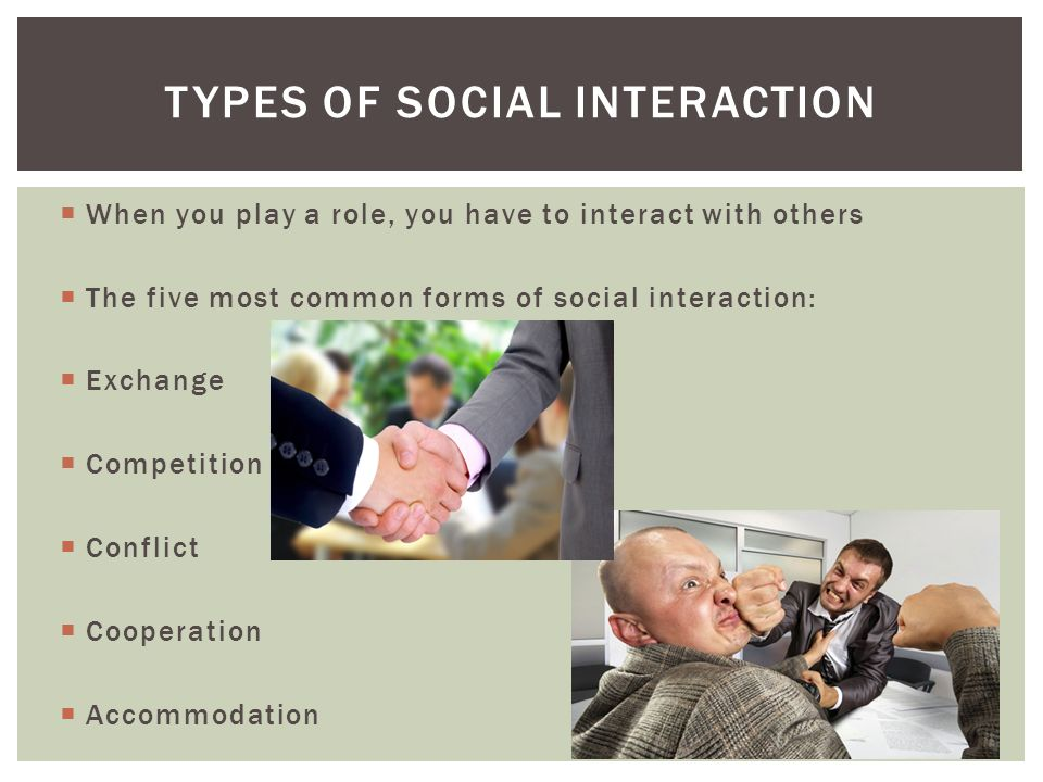  When you play a role, you have to interact with others  The five most common forms of social interaction:  Exchange  Competition  Conflict  Cooperation  Accommodation TYPES OF SOCIAL INTERACTION