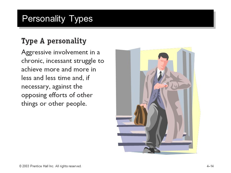 © 2003 Prentice Hall Inc. All rights reserved.4–14 Personality Types