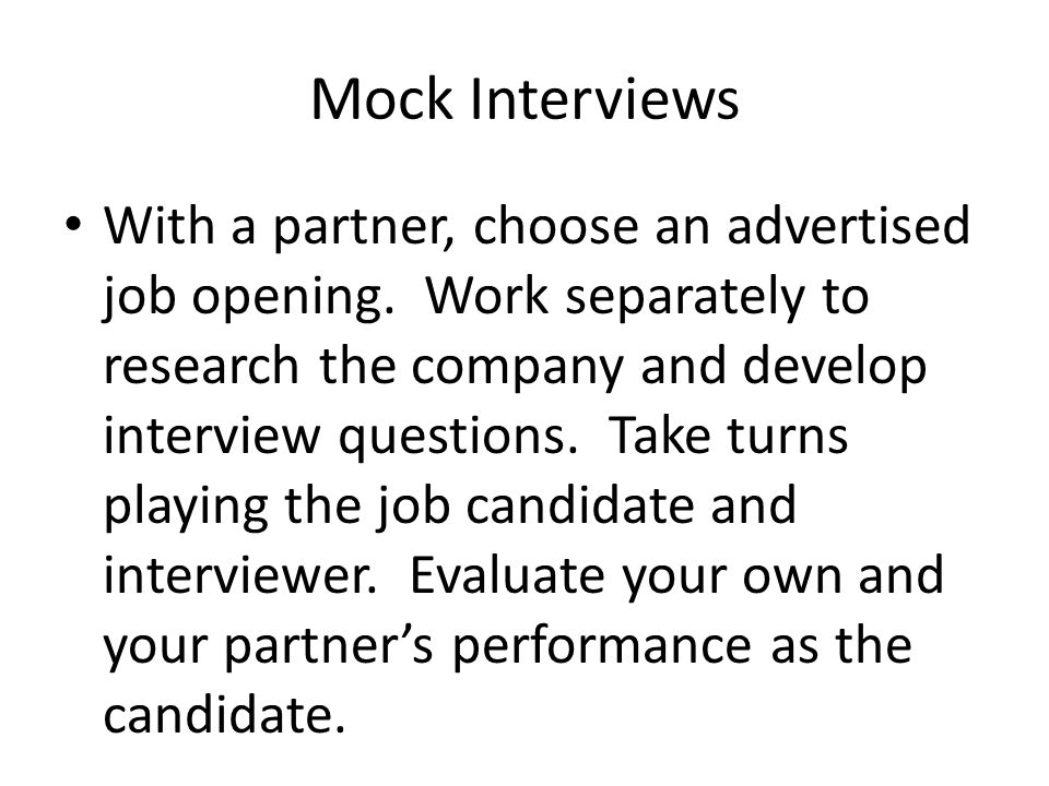 cover letter for mock interview