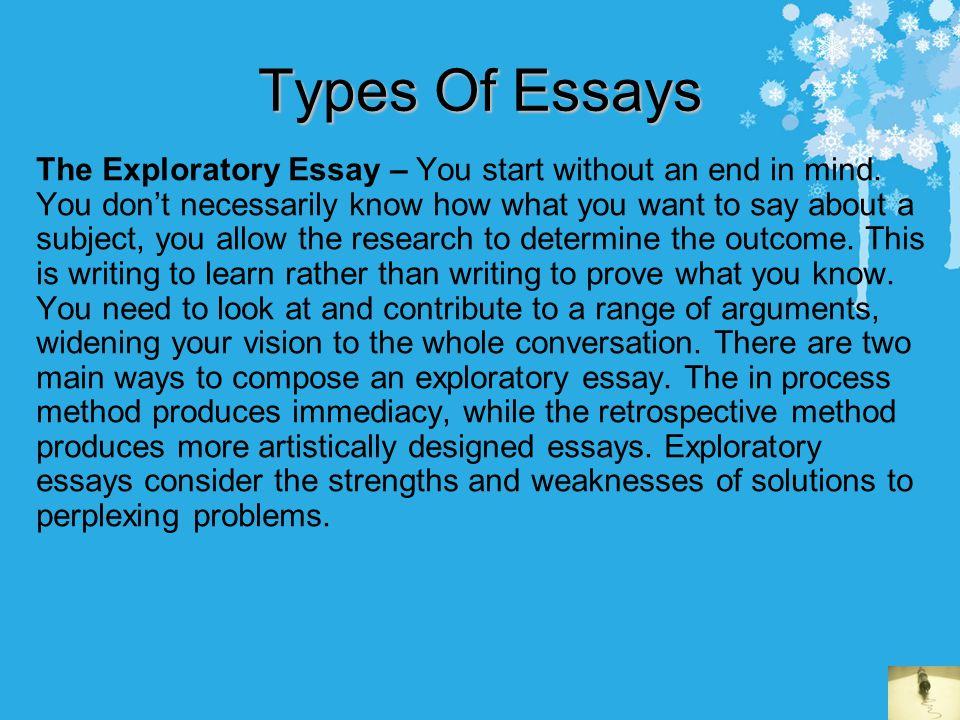 Example Of Exploratory Essay