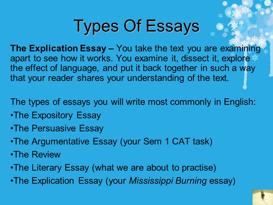 different types of essays to write The chart below outlines 4 main types of essay questions, the verbs/cues that indicate the type of essay question and its purpose  write a conclusion.