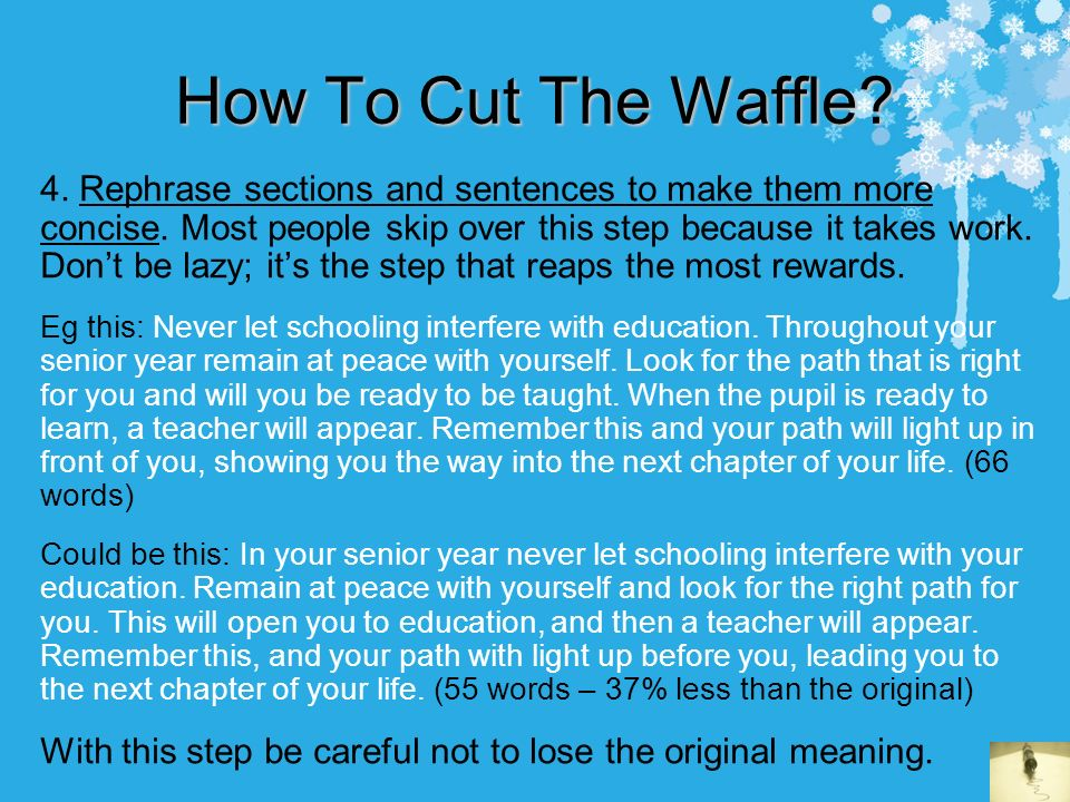 How to write essays some helpful tips contents cut the waffle rephrase sections and sentences to make them more solutioingenieria Images