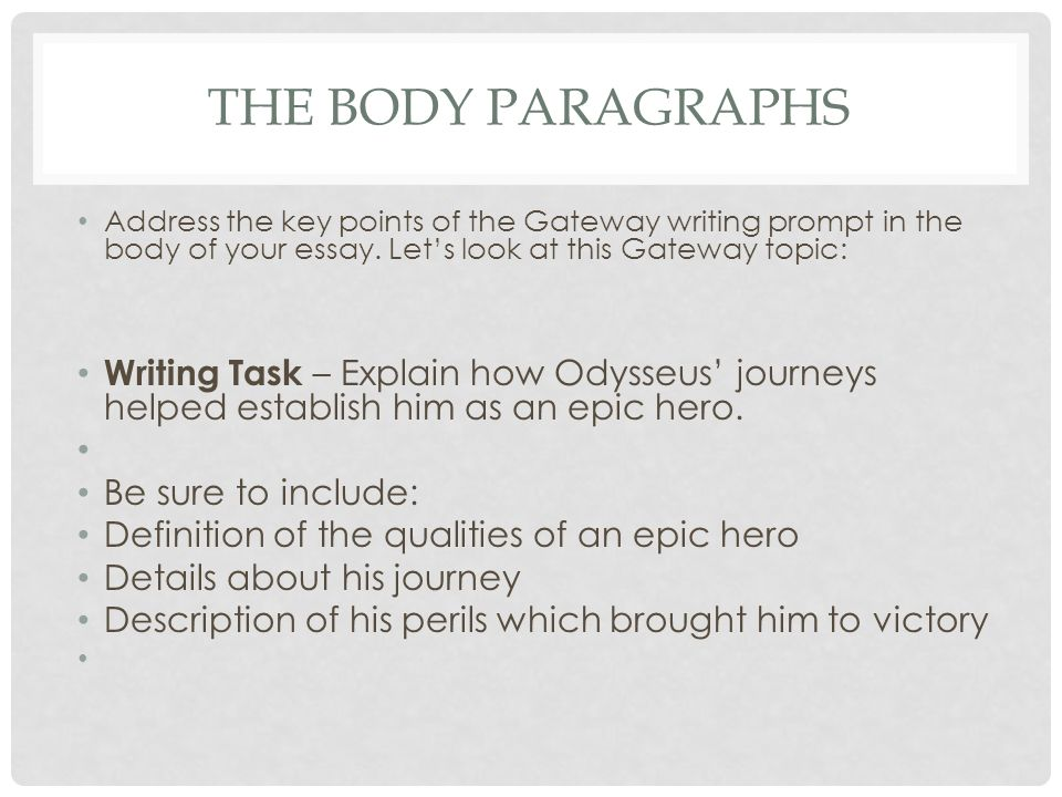 the body paragraphs writing the gateway essay the body paragraphs  2 the