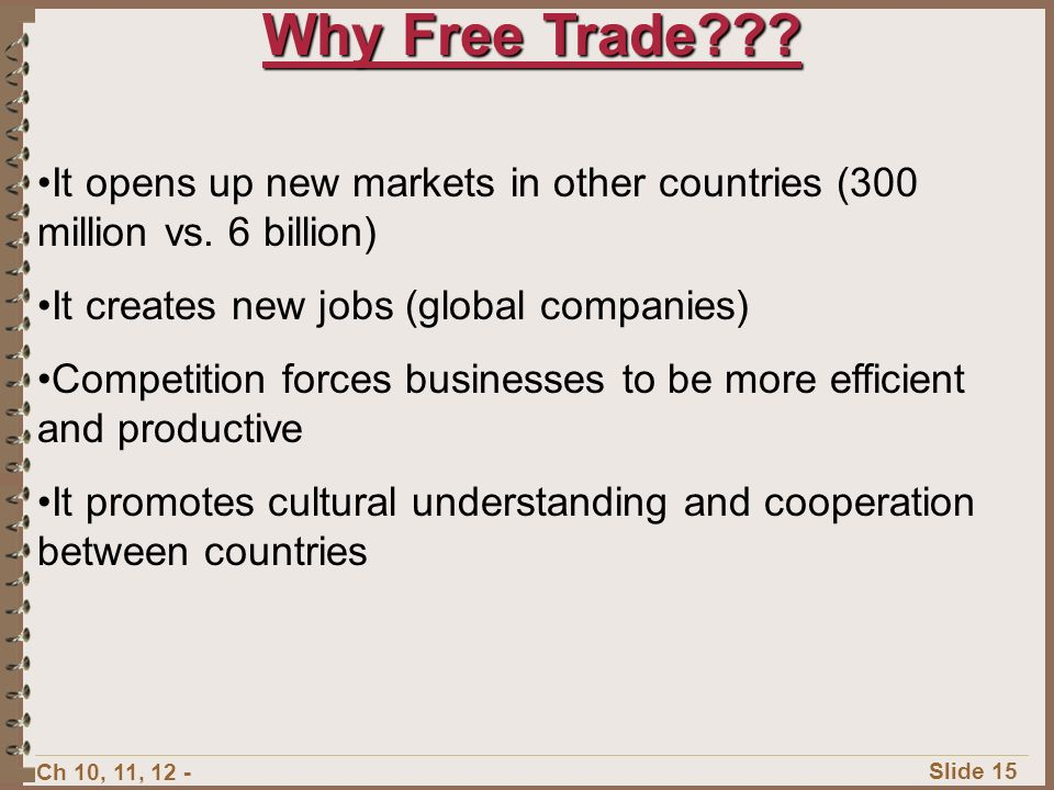Ch 10, 11, 12 - Slide 14 Supporters of free trade believe there should be no limits on trade To reduce limits on trade more countries are forming trade alliances with each other Major Trade Alliances: NAFTA (North American Free Trade Agreement) European Union (EU) Association of Southeast Asian Nations (ASEAN)