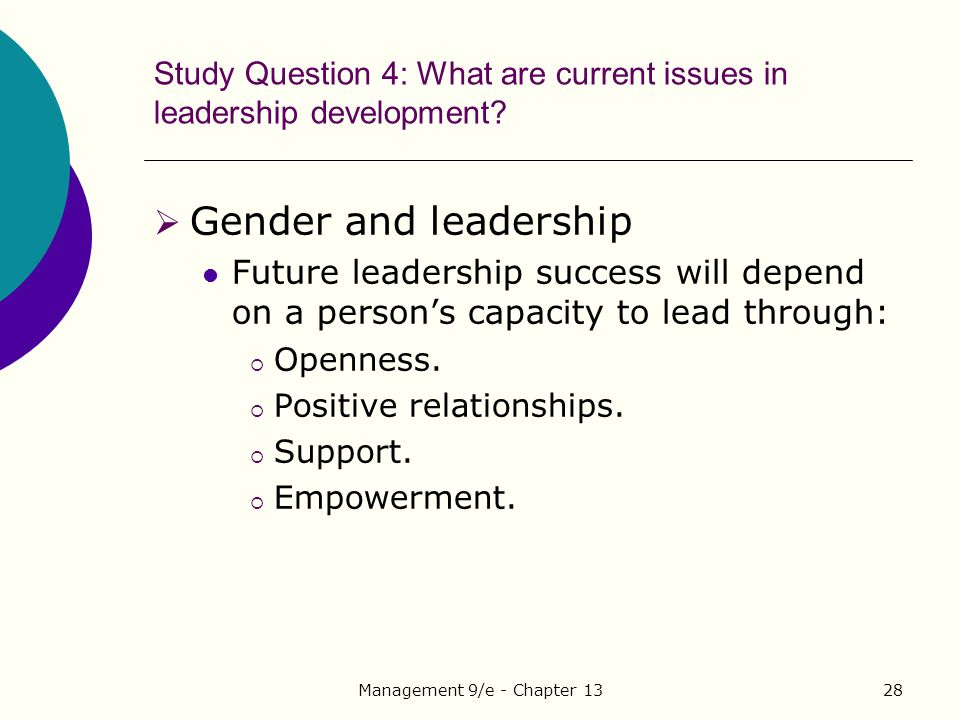 Management 9/e - Chapter 1328 Study Question 4: What are current issues in leadership development.