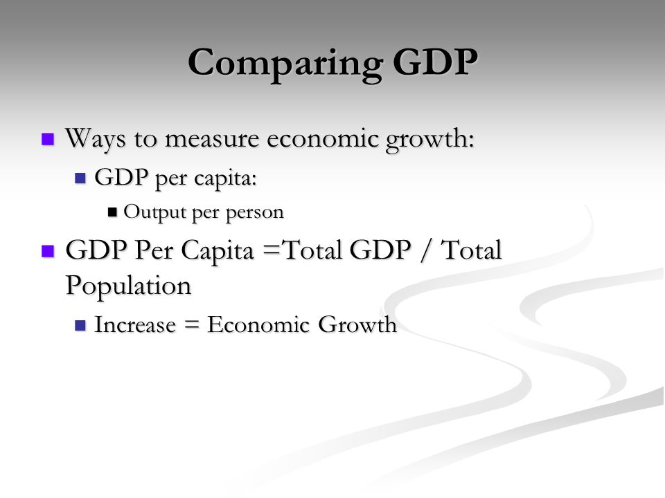 Comparing GDP Ways to measure economic growth: Ways to measure economic growth: GDP per capita: GDP per capita: Output per person Output per person GDP Per Capita =Total GDP / Total Population GDP Per Capita =Total GDP / Total Population Increase = Economic Growth Increase = Economic Growth
