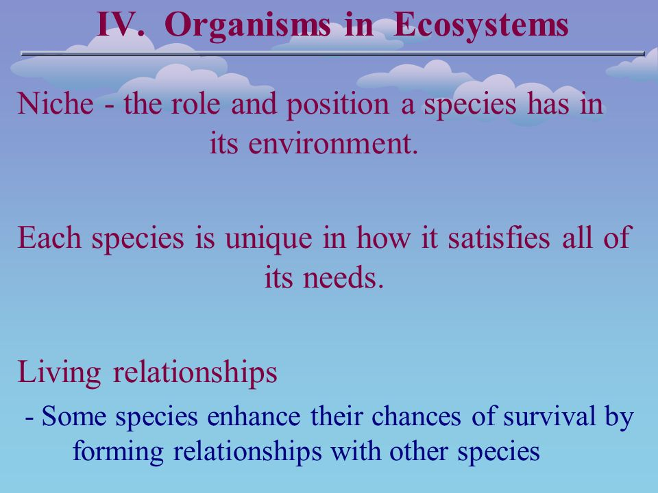 IV. Organisms in Ecosystems Niche - the role and position a species has in its environment.