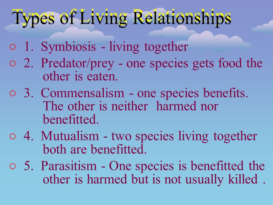 ○1. Symbiosis - living together ○2. Predator/prey - one species gets food the other is eaten.