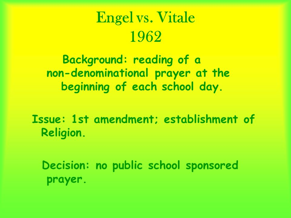 engel v vitale the beginning of