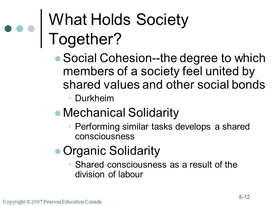 Copyright © 2007 Pearson Education Canada 5-12 What Holds Society Together.
