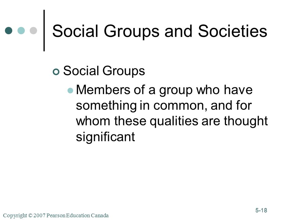 Copyright © 2007 Pearson Education Canada 5-18 Social Groups and Societies Social Groups Members of a group who have something in common, and for whom these qualities are thought significant
