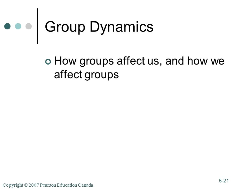 Copyright © 2007 Pearson Education Canada 5-21 Group Dynamics How groups affect us, and how we affect groups