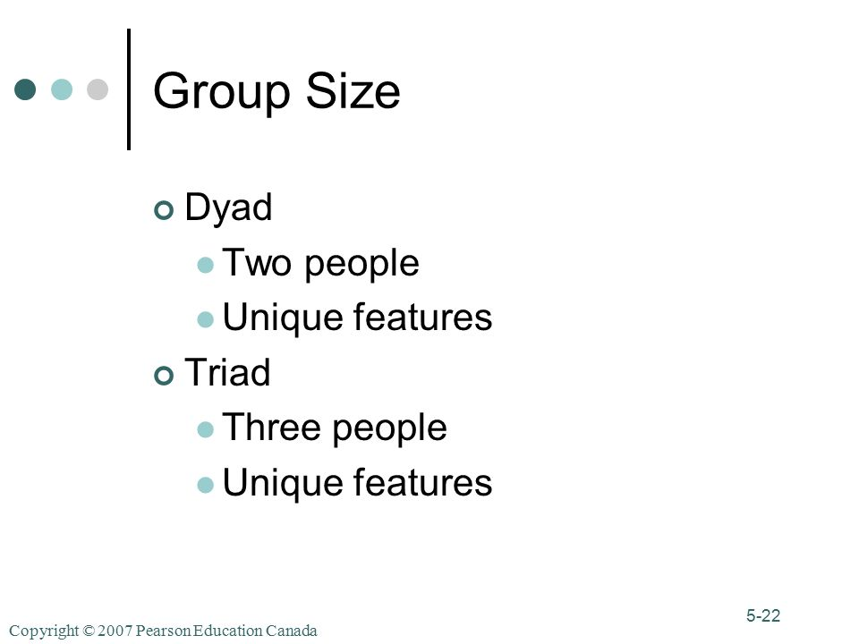 Copyright © 2007 Pearson Education Canada 5-22 Group Size Dyad Two people Unique features Triad Three people Unique features