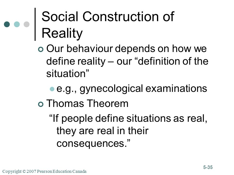 Copyright © 2007 Pearson Education Canada 5-35 Social Construction of Reality Our behaviour depends on how we define reality – our definition of the situation e.g., gynecological examinations Thomas Theorem If people define situations as real, they are real in their consequences.