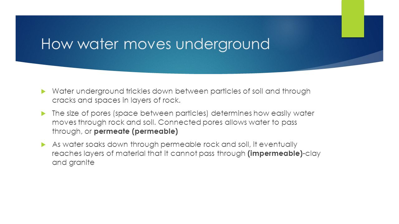 How water moves underground  Water underground trickles down between particles of soil and through cracks and spaces in layers of rock.