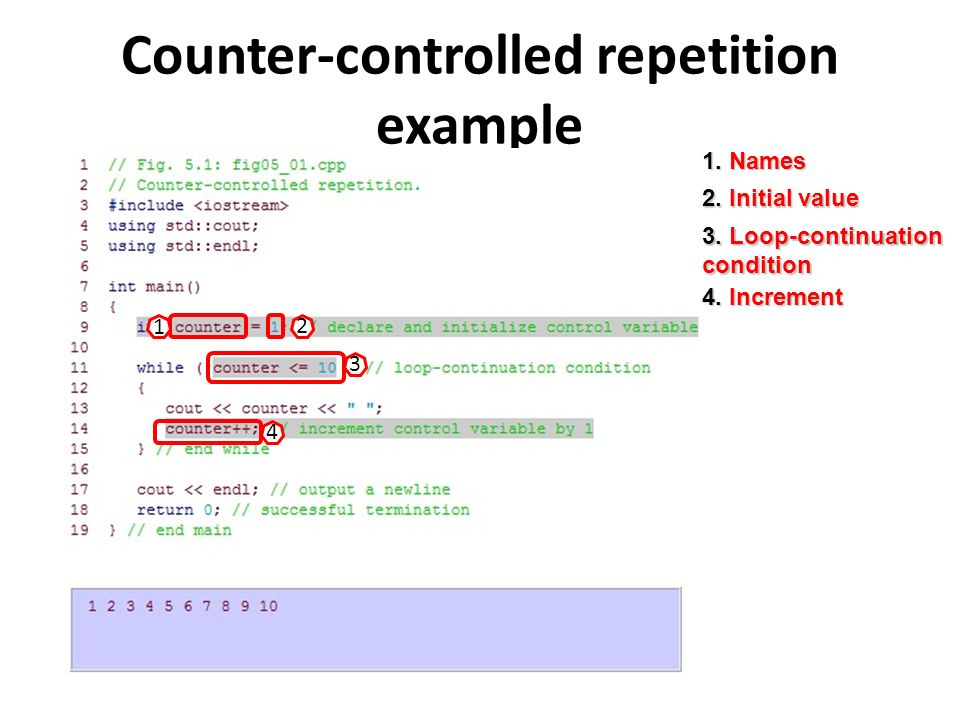 Counter-controlled repetition example 1. Names 1 2.