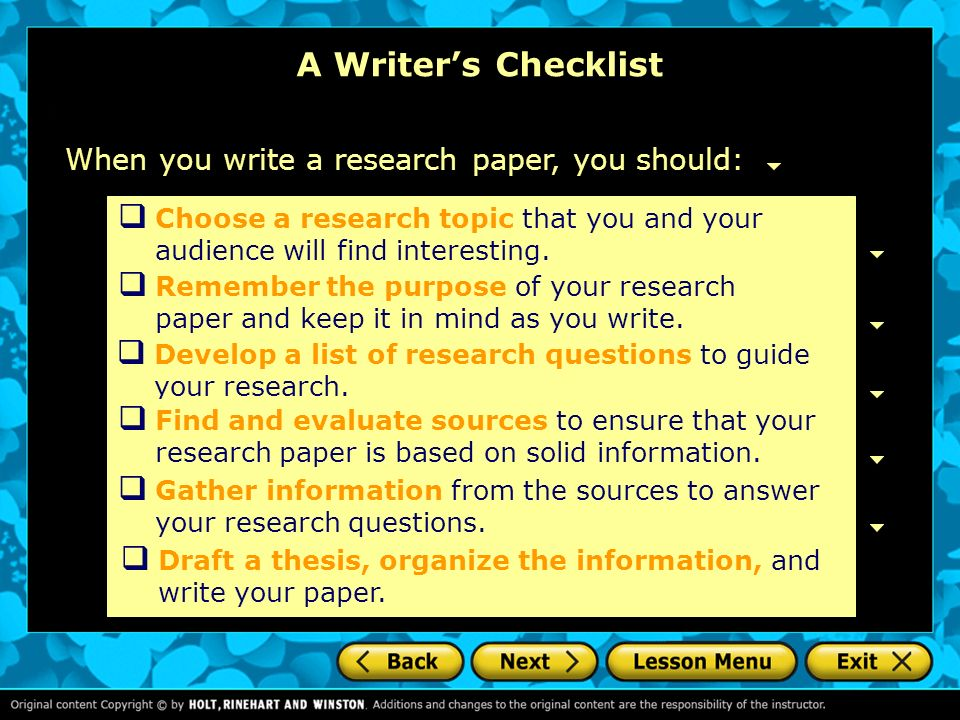 choosing a dissertation research question
