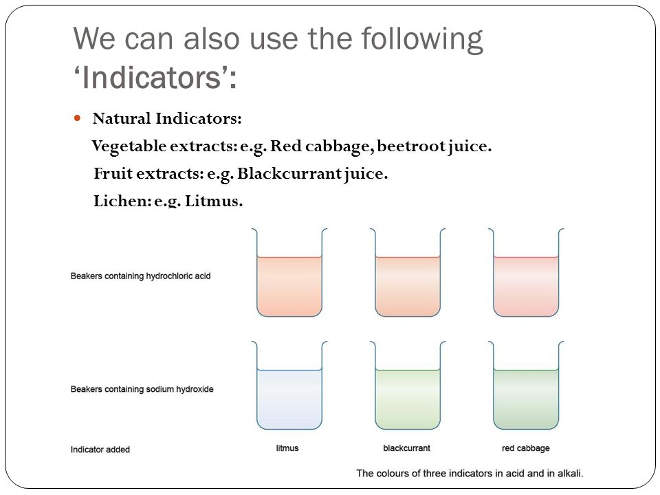 We can also use the following 'Indicators': Natural Indicators: Vegetable extracts: e.g.