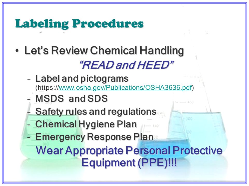 MSDS Resources & Responsibilities Receipt and filing of MSDS's and SDSReceipt and filing of MSDS's and SDS –Site and county Vendor Websites - FlinnVendor Websites - Flinn Worker RequirementsWorker Requirements Student & Lesson RequirementsStudent & Lesson Requirements –Student safety contracts –NCDPI Classroom Poster Aid