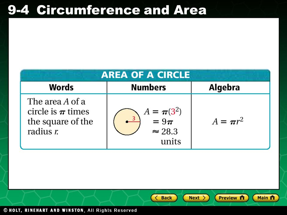 Holt CA Course 1 9-4Circumference and Area