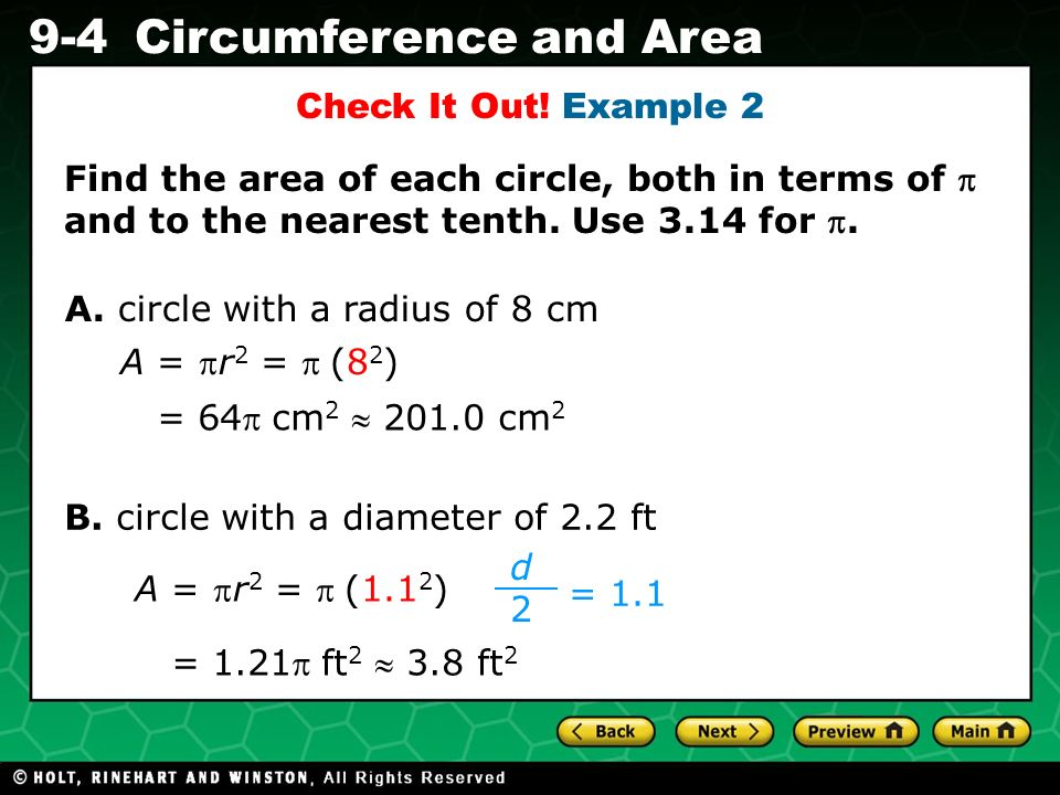 Holt CA Course 1 9-4Circumference and Area B.