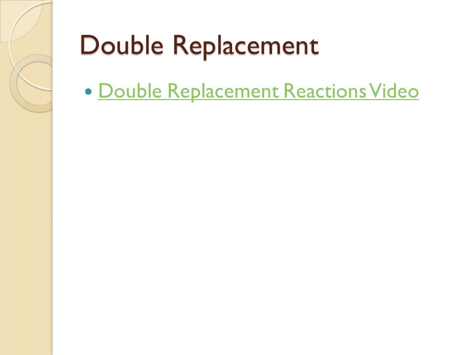 Double Replacement Double Replacement Reactions Video