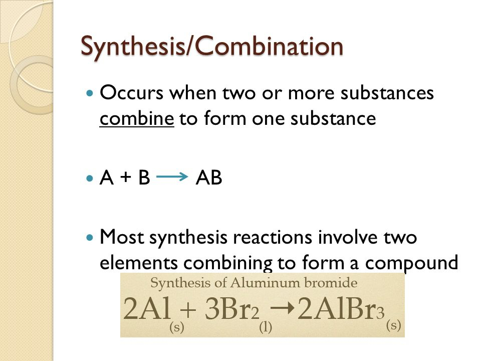 Synthesis/Combination Occurs when two or more substances combine to form one substance A + B AB Most synthesis reactions involve two elements combining to form a compound