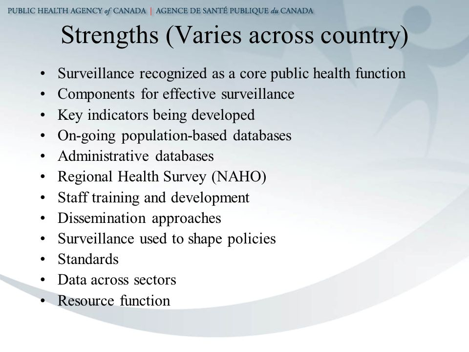 Strengths (Varies across country) Surveillance recognized as a core public health function Components for effective surveillance Key indicators being developed On-going population-based databases Administrative databases Regional Health Survey (NAHO) Staff training and development Dissemination approaches Surveillance used to shape policies Standards Data across sectors Resource function