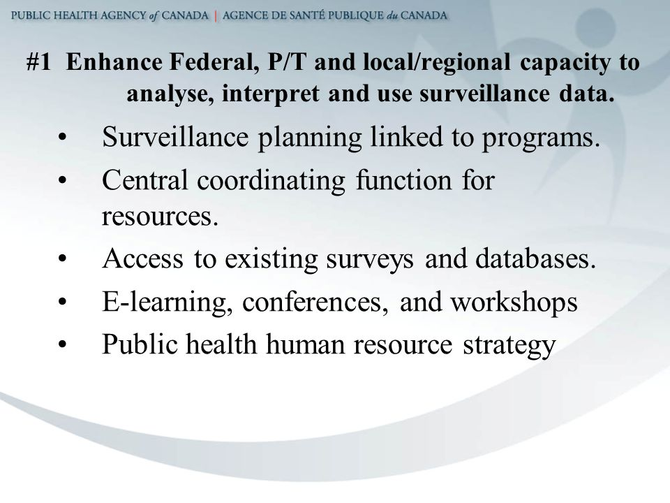 #1 Enhance Federal, P/T and local/regional capacity to analyse, interpret and use surveillance data.