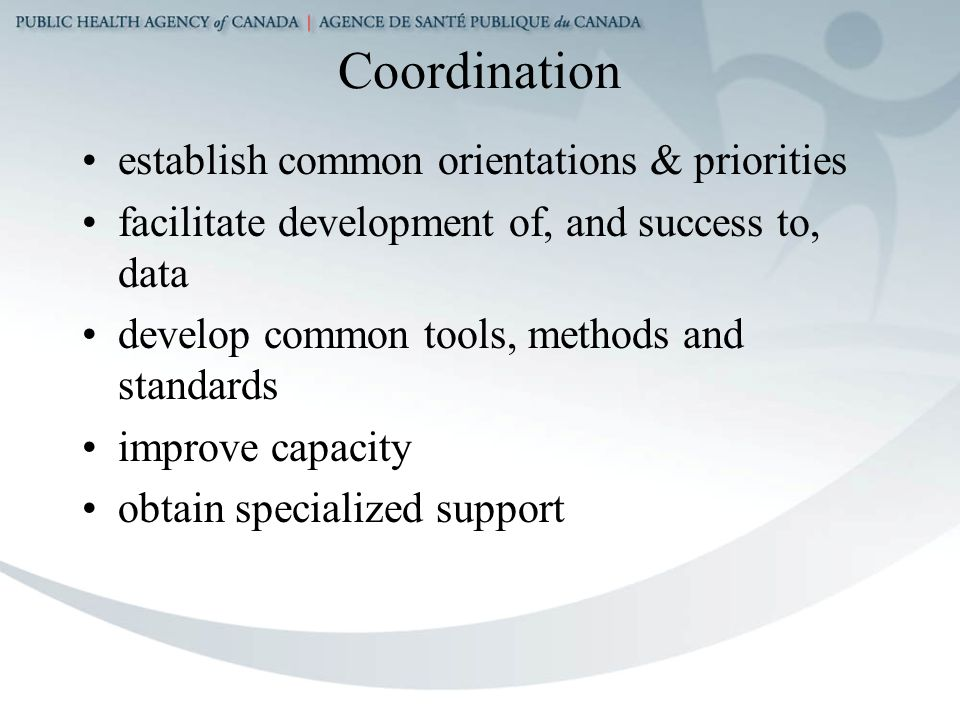Coordination establish common orientations & priorities facilitate development of, and success to, data develop common tools, methods and standards improve capacity obtain specialized support
