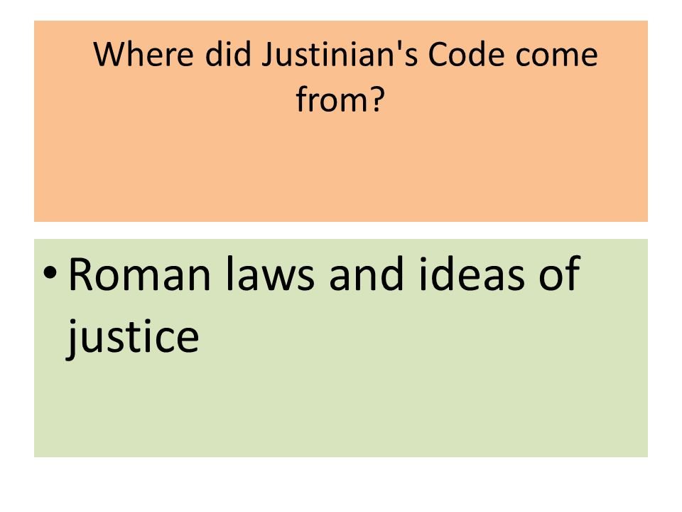 Where did Justinian s Code come from Roman laws and ideas of justice