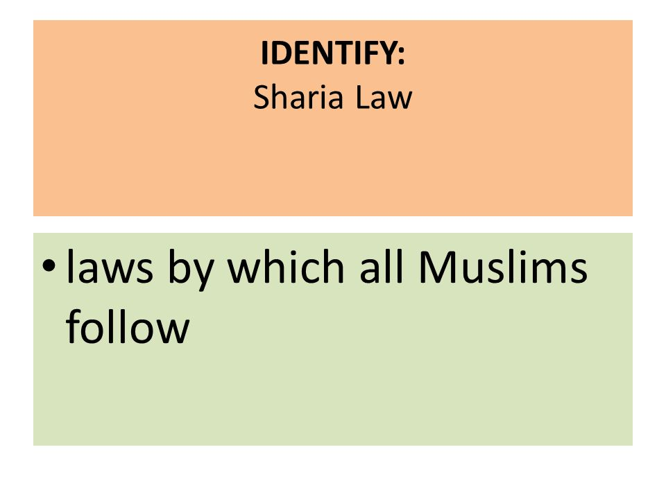 IDENTIFY: Sharia Law laws by which all Muslims follow