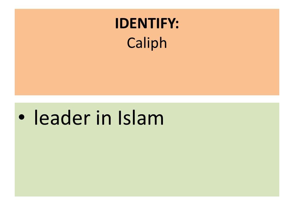 IDENTIFY: Caliph leader in Islam