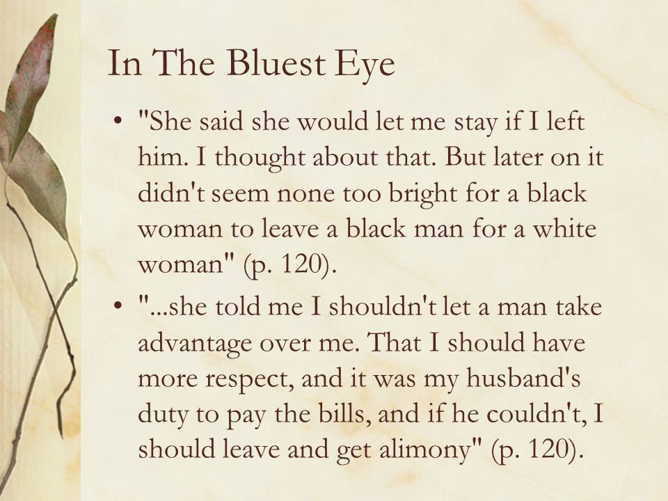 The bluest eye thesis