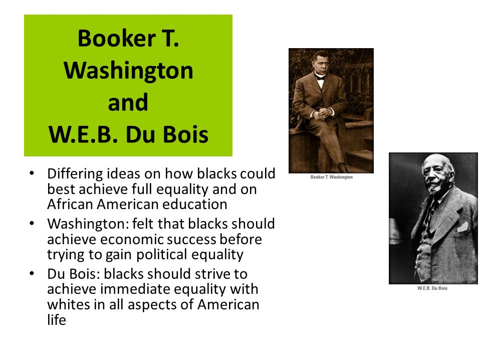 booker t. washington and e.b. dubois essay Booker t washington and w e b dubois offered different strategies for dealing with the problems of poverty and discriminations faced by black americans at the end of the 19th and beginning of the 20th centuries.
