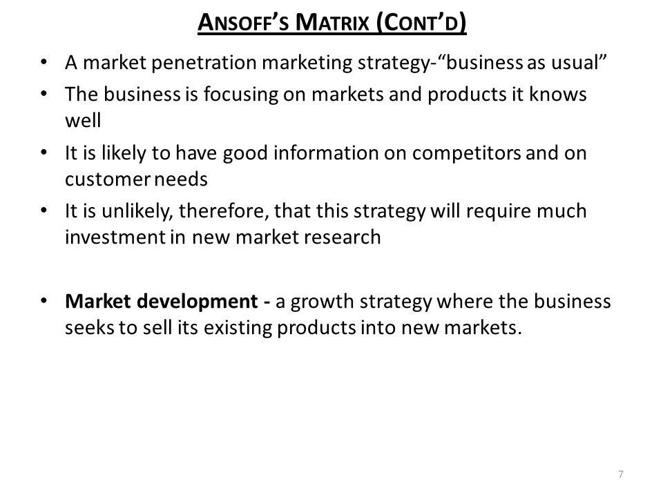 Penetration ansoff market