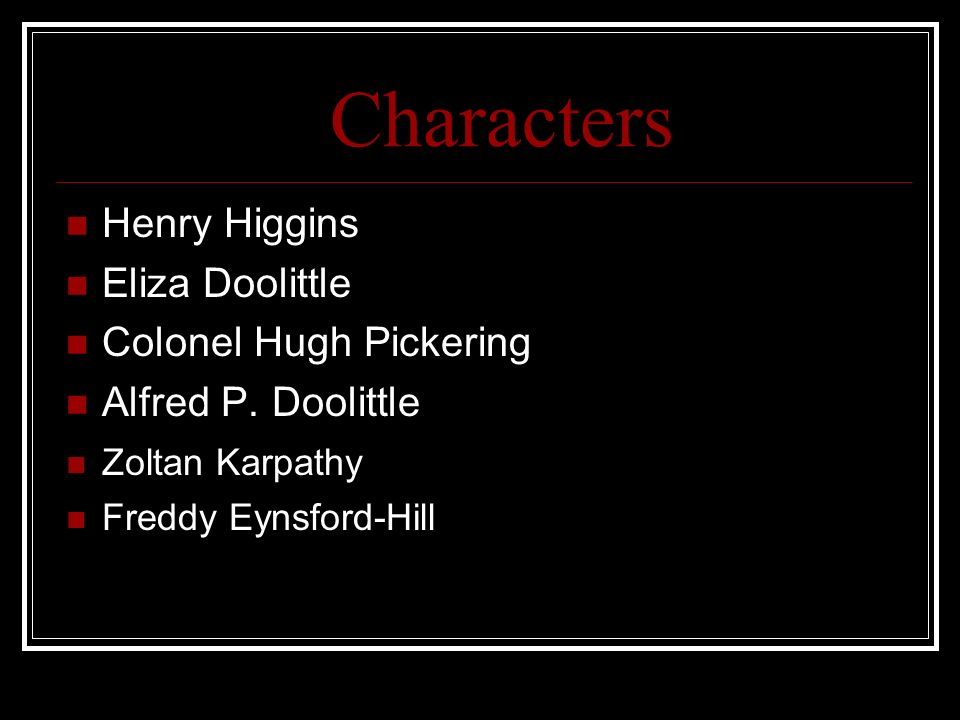 pygmalion eliza character analysis