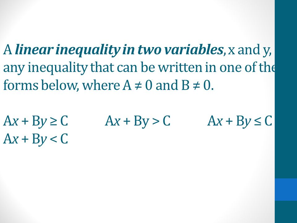 A linear inequality in two variables, x and y, is any inequality that can be written in one of the forms below, where A ≠ 0 and B ≠ 0.