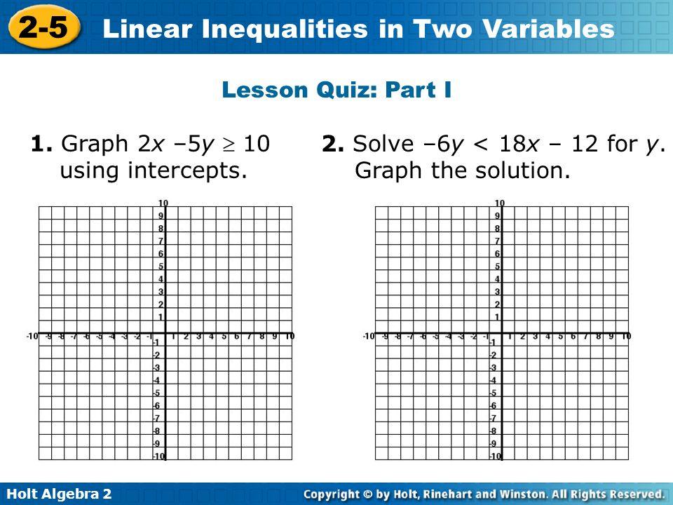 Holt Algebra Linear Inequalities in Two Variables 25 Linear – Graphing Linear Inequalities in Two Variables Worksheet