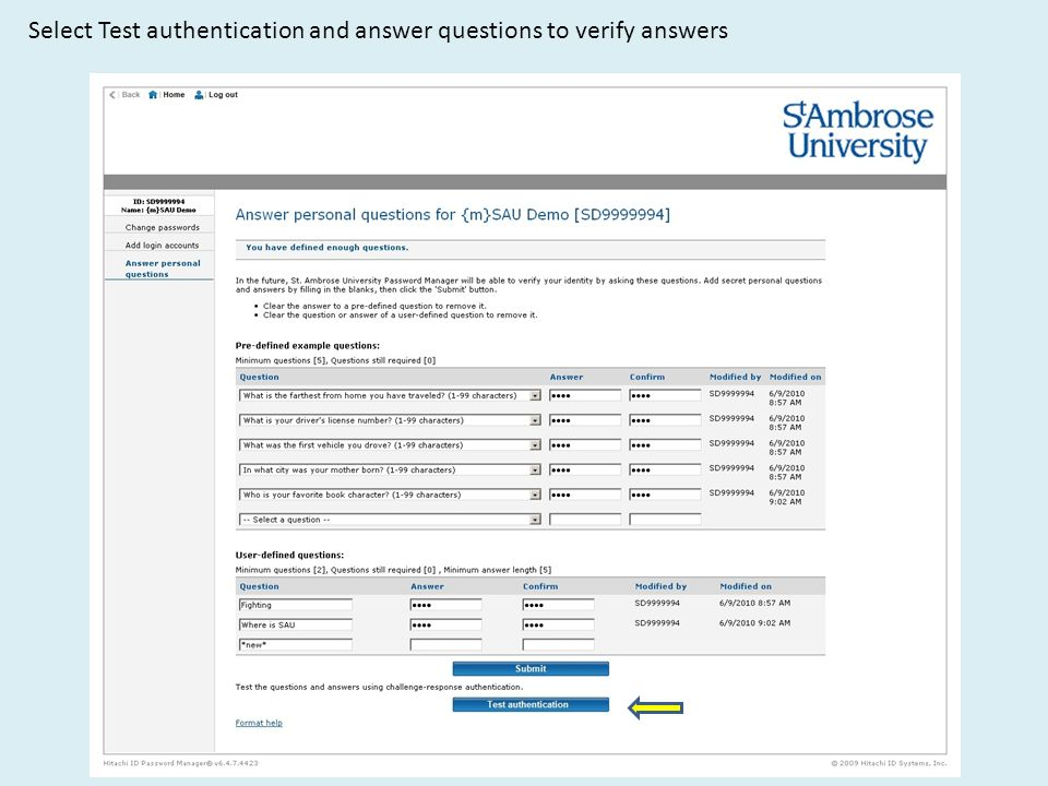Select Test authentication and answer questions to verify answers