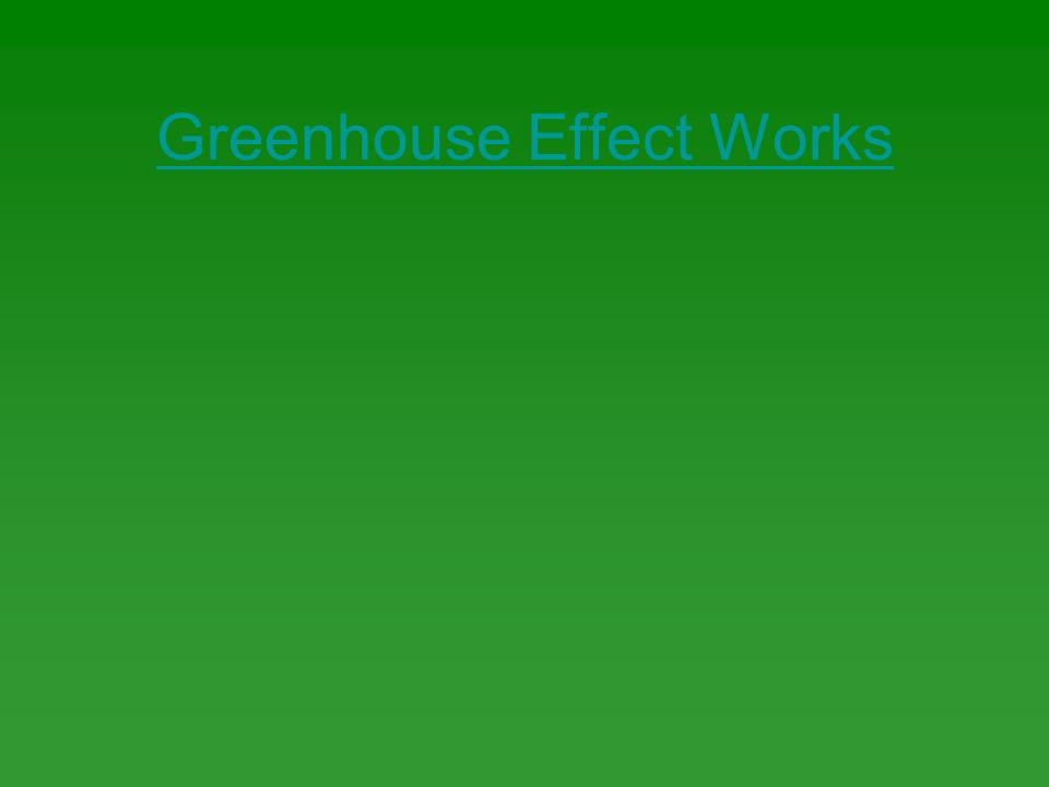 Greenhouse Effect Works