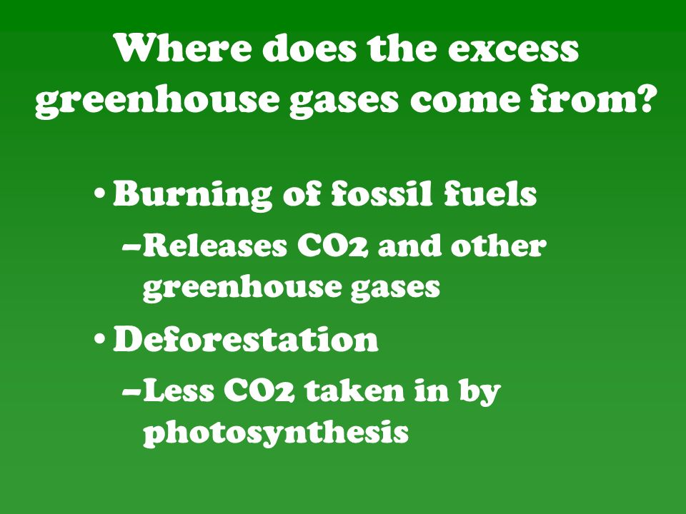 Where does the excess greenhouse gases come from.