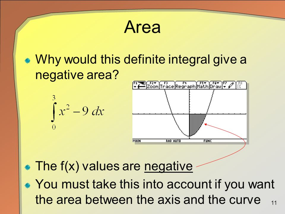 11 Area Why would this definite integral give a negative area.
